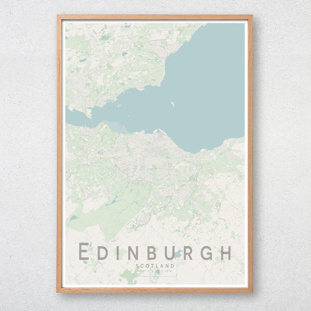 Scotland Wall Art Poster City Map Wall Decor A3 A2 A1 EDINBURGH Map Print