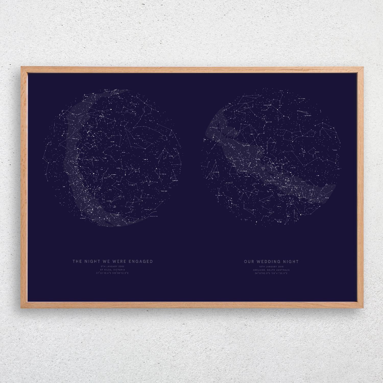 CUSTOM Star MapStar ChartNight Sky Map Constellation PrintWedding Gift