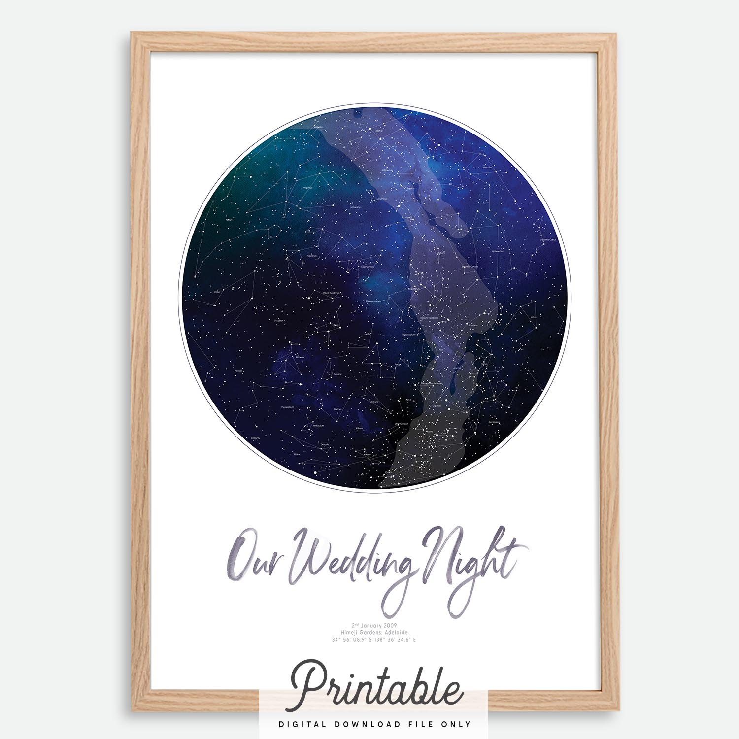 photograph regarding Constellation Printable named Info in excess of Custom made Printable Star Map Night time Sky Map Constellation Print  Wedding day Present