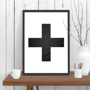 Swiss Cross Dark Stone Print