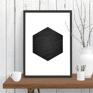 Hexagon Dark Stone Print