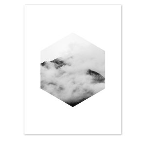 Hexagon Cloud Mountain Print