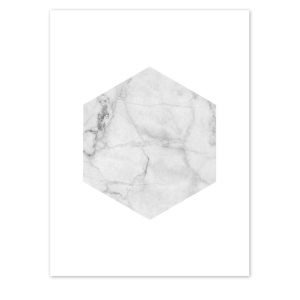 Hexagon White Marble Print