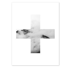 Swiss Cross Cloud Mountain Print