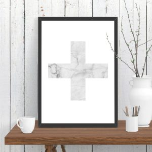 Swiss Cross White Marble Print