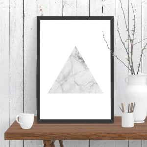 Triangle White Marble Print