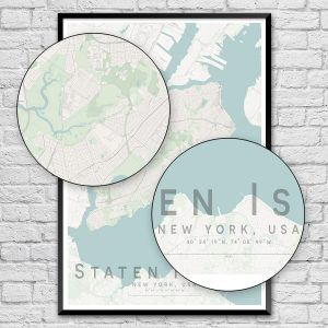 Staten Island New York City Street Map Print