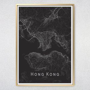 Hong Kong Monochrome Map Print