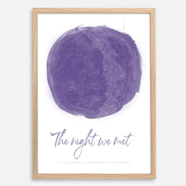 Custom Watercolour Star Map Print