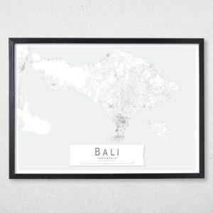 Bali Monochrome Map Print