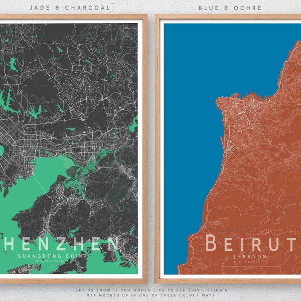Little Printery Map Print Colour Choice