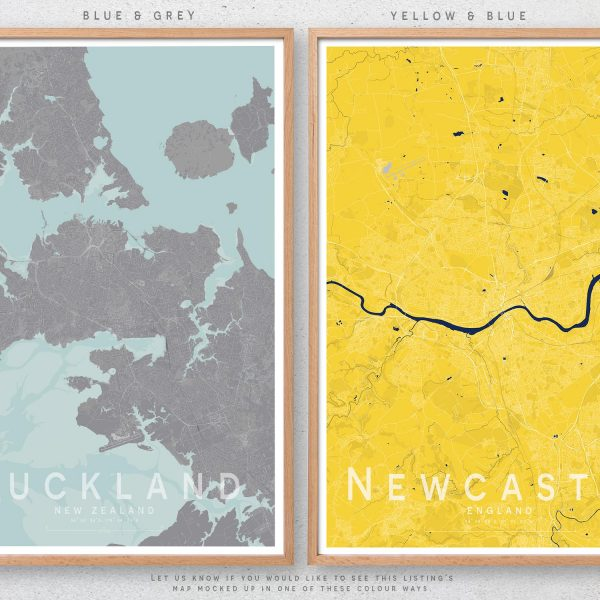 Little Printery Map Print Colour Choice