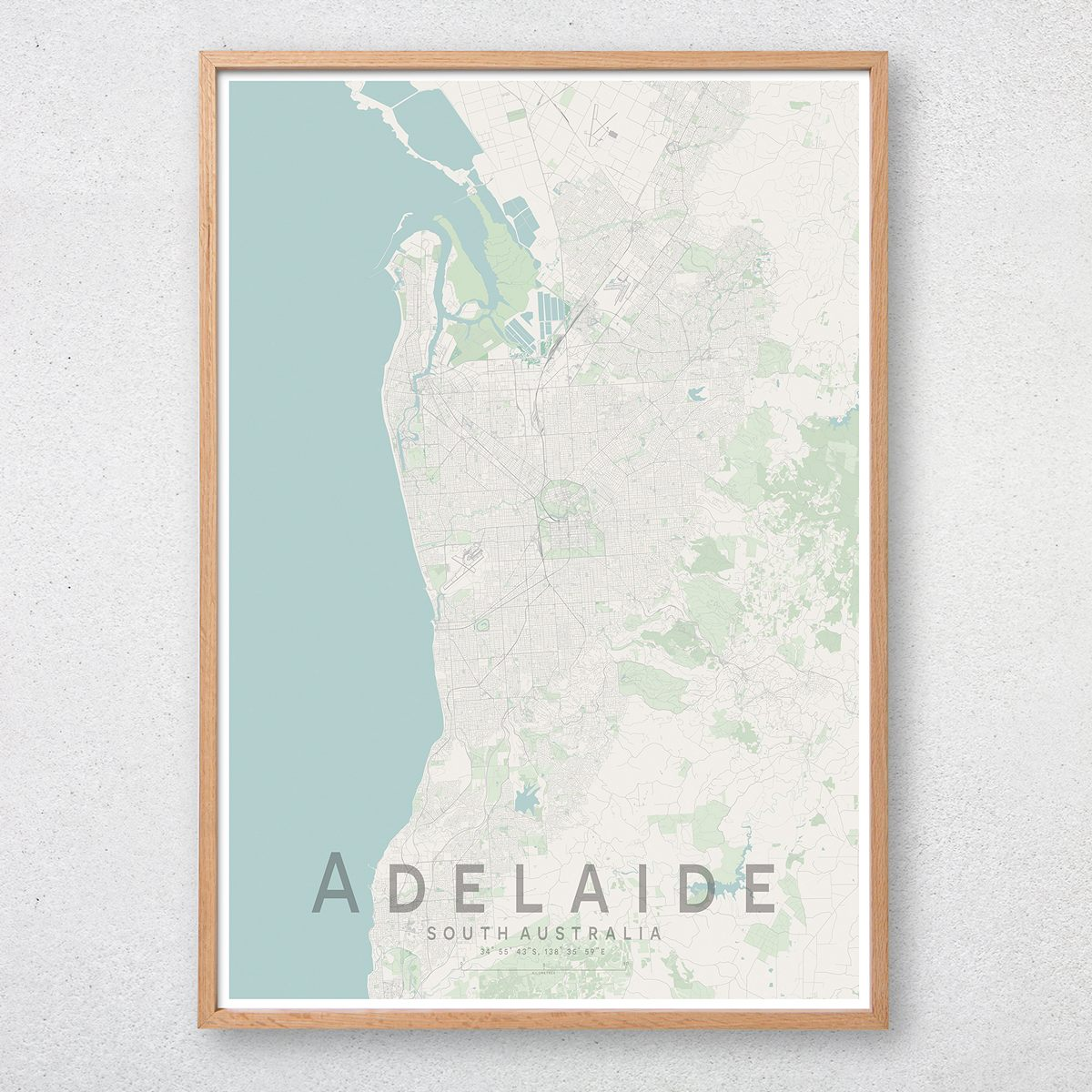 Adelaide Map Of Australia.Adelaide Map Print