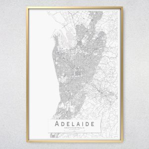 Adelaide Monochrome Map Print