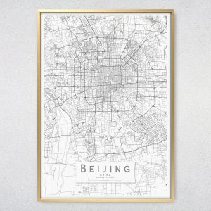 Beijing Monochrome Map Print