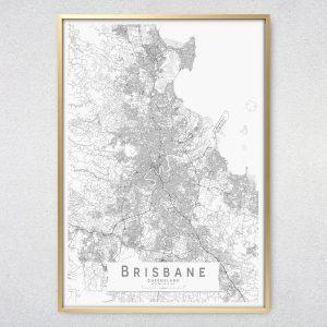 Brisbane Monochrome Map Print