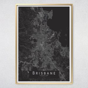 Brisbane Monochrome Map Print