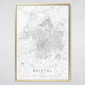 Bristol Monochrome Map Print