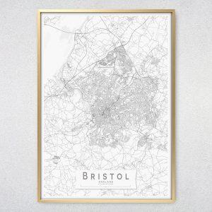 Bristol Monochrome Map Print