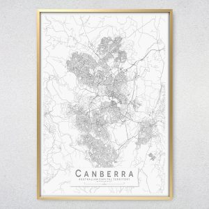 Canberra Monochrome Map Print