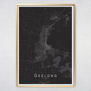 Geelong Monochrome Map Print