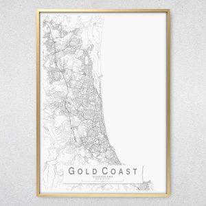 Gold Coast Monochrome Map Print