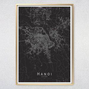 Hanoi Monochrome Map Print