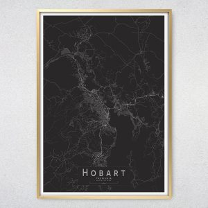 Hobart Monochrome Map Print