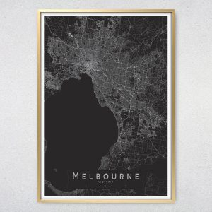 Melbourne Monochrome Map Print