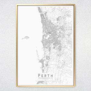 Perth Monochrome Map Print