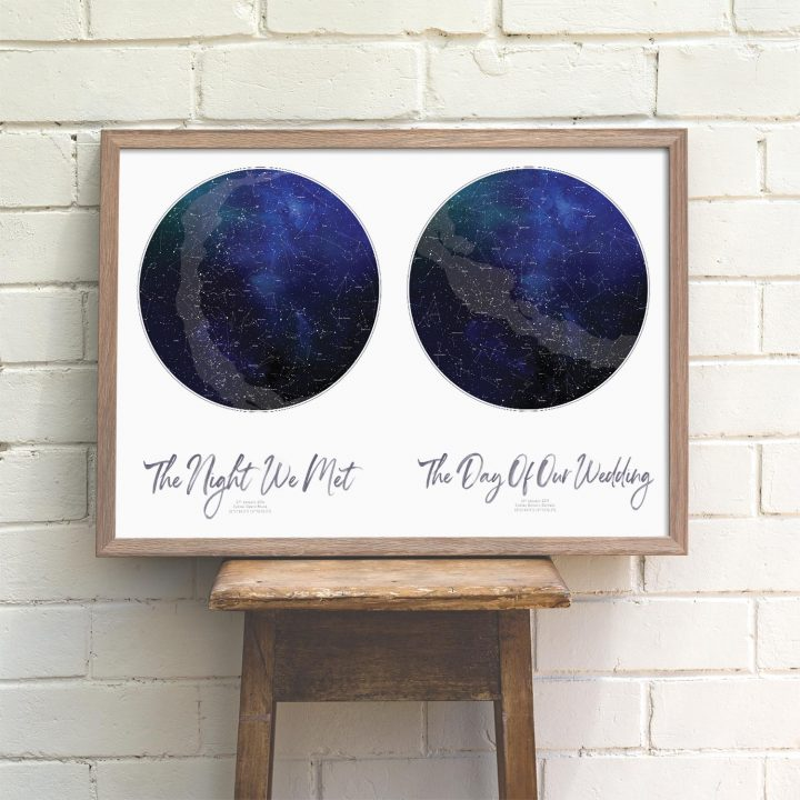 Custom Watercolour Double Star Map Print