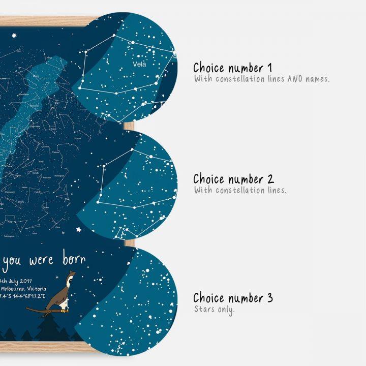 Custom Owl Night Sky Star Map Print