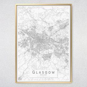 Glasgow Monochrome Map Print