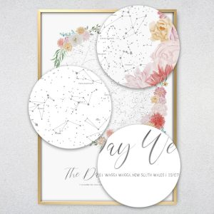 Custom Floral Star Map Print