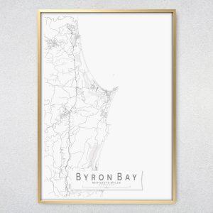 Byron Bay Monochrome Map Print