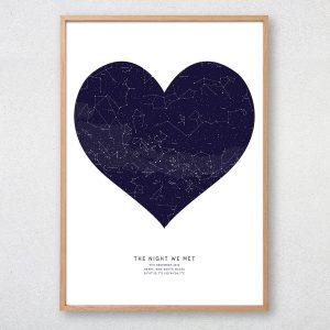 Custom Heart Shaped Star Map Print