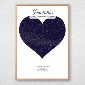 Custom Heart Shaped Star Map Printable
