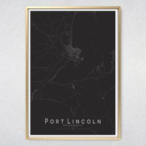 Port Lincoln Monochrome Map print