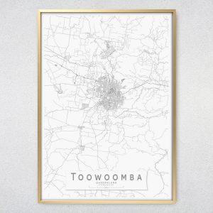 Toowoomba Monochrome Map Print