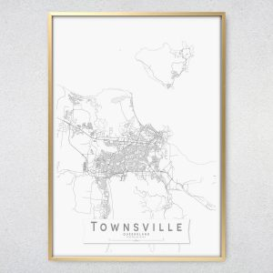 Townsville Monochrome Map Print