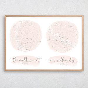 Custom Romantic Double Star Map Print